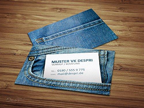 Business Visitenkarten - Online gestalten! Despri Design VK020, Jeans Look, 250 Stück, glänzend