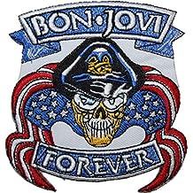 Parche bordado para coser o planchar Bon Jovi, 10 cm x 9,5 cm