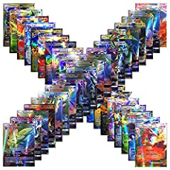 Idea Regalo - Forwei 100 carte Pokemon da 100 pezzi, carta iniziale Compreso Carta stile TCG Holo EX Full Art 59 EX Cards 20 Mega EX Cards 20 GX Cards 1 Energy Card