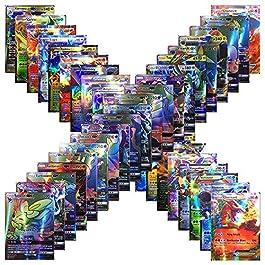 Forwei 100 carte Pokemon da 100 pezzi, carta iniziale Compreso Carta stile TCG Holo EX Full Art 59 EX Cards 20 Mega EX…