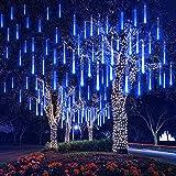 DINOWIN Meteoros Lluvia Luces,360LEDs Tubo de Luces Solar Luces Jardín Impermeable Guirnalda de Luzs,Cadena para Fiesta de Boda de Decoración del árbol de Navidad (Azul)