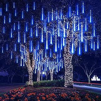 DINOWIN Meteoros Lluvia Luces,360LEDs Tubo de Luces Solar Luces Jardín Impermeable Guirnalda de Luzs,Cadena para Fiesta de Boda de Decoración del árbol de Navidad