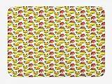 Soefipok Estera de baño de Frutas, patrón de Vitamina C del limón de Granada Anaranjado estacional, tapete de baño de Felpa para Decorar con Respaldo Antideslizante