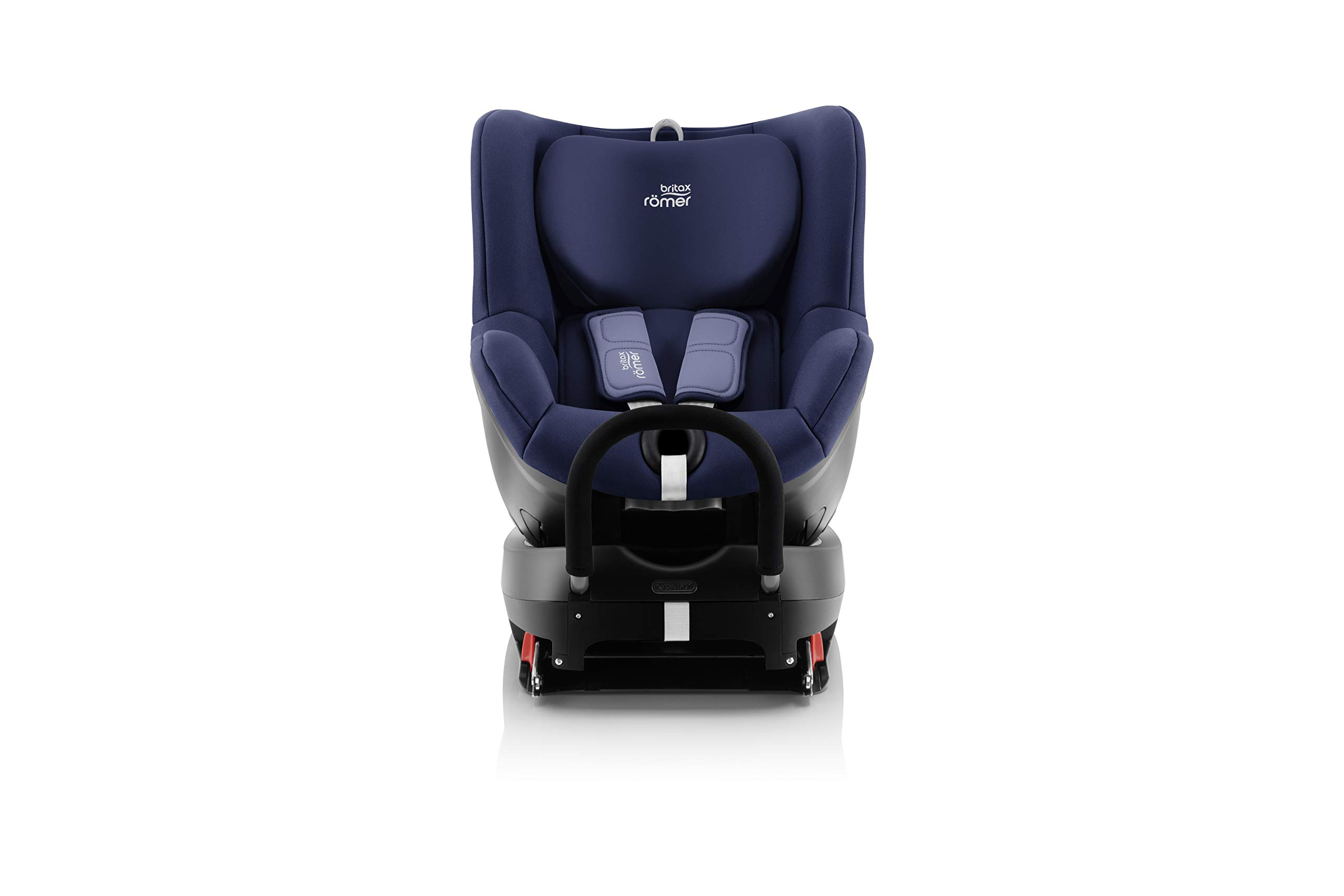 Britax Römer car seat birth DUALFIX 2 R car seat swivel group 0+/1, Moonlight Blue, 18 kg Britax Römer Intuitive 360 Degree rotation for rearward and forward facing usage Easy entry with 90 Degree rotation to the open door for easy placement of the child Extended rearward facing travel with more leg space thanks to shorter rebound bar 2