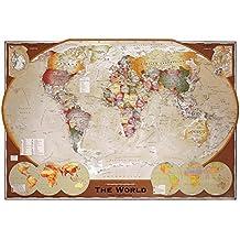 """Póster Mapa del Mundo """"Winkel Tripel Projection/ Projección de Winkel-Triple"""" (91,5cm x 61cm) + 2 marcos transparentes con suspención"""