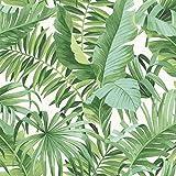 Tapete mit tropischen Blättern, Palme, weiß-grün, A-Sreet-Prints, auf die Wand kleben