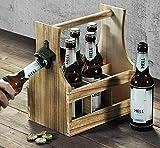SIDCO ® Flaschenträger mit Flaschenöffner Holz Flaschenhalter Bierträger Flaschenkorb - 5