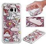 E-Mandala Samsung Galaxy S6 Edge Hülle Glitzer Flüssig Liquid Glitter Case Cover Handyhülle Schutzhülle Transparent mit Muster Durchsichtig Tasche Silikon - Einhorn Unicorn Rosa Pink