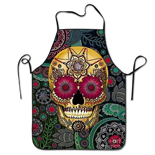tianjianzulinyouxiangongsi Sugar Skulls Funny Pinafore Colorful Lightweight Adjustable Plus Size Bib Apron Adult Aprons Without Pocket