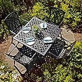 Lazy Susan - LUCY 91 cm Quadratischer Gartentisch mit 4 Stühlen - Gartenmöbel Set aus Metall, Antik Bronze (APRIL Stühle)