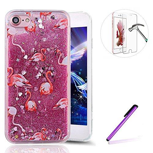 iPhone SE Hülle Glitzer Silikon Bumper Mirror Case für iPhone 5S,iPhone SE Hülle Flower,Schutzhülle für iPhone SE 5 5S Hülle Silicone Case,EMAXELERS iPhone 5S Hülle für Mädchen,iPhone SE Hülle Glitter H Flamingo 2