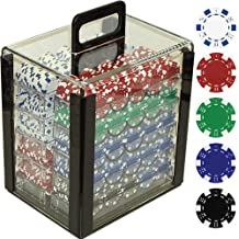 Trademark Poker 1000 dice Chips de rayas en acrílico Carrier, 11,5 mm, transparente