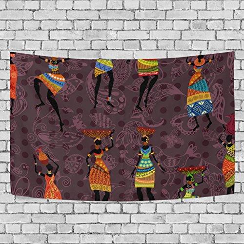 jstel Vintage afrikanischen Frauen Wandteppich für Dekoration für Wohnung Home Decor Wohnzimmer Tisch Überwurf Tagesdecke Wohnheim 152,4x 101,6cm, Textil, multi, 51x60 inch - Afrikanische Wohnzimmer Tisch