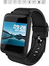 OPTA M28-SB-047 Rubber Bluetooth Smart Watch with All-in-One Activity Tracker for Android, iOS Devices (Medium, Black)
