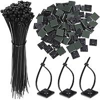 Faburo 100 PCS Zip Tie Adhésifs Noir Collier de Serrage Supports Auto-Adhésifs Supports de Base de Serre-Câbles avec…