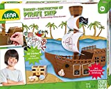 Lena 42645 - Bastelset Steckbausatz Piratenschiff, ca. 30 cm, Komplettset mit Stanzteilen zum Bauen eines Piratenschiffes und 50 farbigen Sticker zum Ausmalen, Steckspiel Set für Kinder ab 5 Jahre