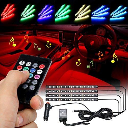 Audew LED Innenbeleuchtung Innenraumbeleuchtung Auto 4×12 Lichtleiste mehrfarbliche LED Streifen Auto Atmosphäre Licht mit Fernbedienung und KFZ Ladegerät DC 12V