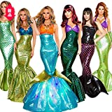 Baige Mermaid Dress, Party Evening Dresses,Cosplay,Long Sequin Sexy Wrapped Chest Show Evening Dress(Costume Adult)