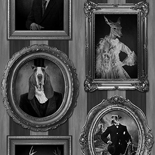 muriva-papier-peint-rayures-vintage-chiens-dans-cadres-cerfs-rennes-noir-blanc-gris-j59309