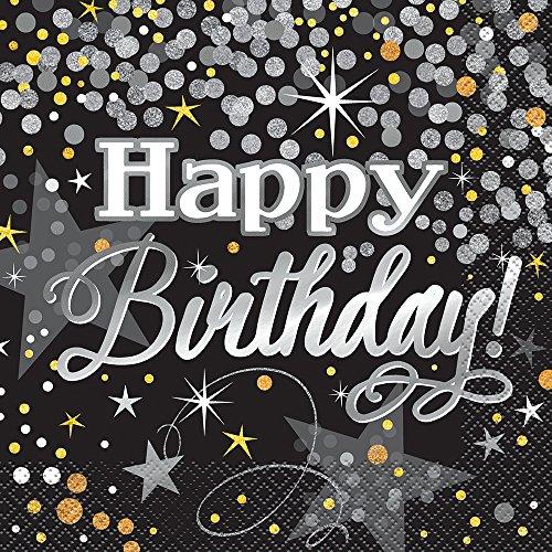 Unique Party 58272Folie Glitzer Geburtstag Party Serviette (16Stück) (Papier Geburtstag Party Servietten)