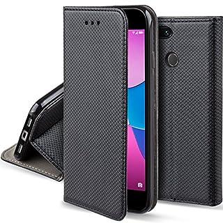 Moozy Hülle Flip Case für Huawei Y6 Pro (2017) / P9 Lite Mini, Schwarz - Dünne magnetische Klapphülle Handyhülle mit Standfunktion
