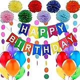 """Kit Decorazione Festa di Compleanno. Bandierine di Buon Compleanno """"Happy Birthday"""" + Set di 8 Pompon a fiore + 2 Festoni Arcobaleno di 3 m + Confezione di 12 Palloncini Perlati. Idee per decorare di Jonami Party"""