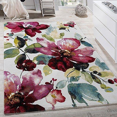 Paco Home Teppich Modern Leinwand Optik Teppich Blumen Muster Bunt Farbmix Multicolour, Grösse:160x230 cm (Teppich Blumen Moderne)