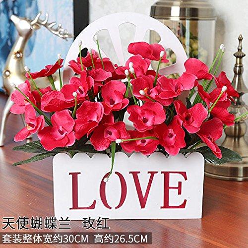 Meili flowersimulazione interni fiore finto pacchetto di fiori di seta swing di fiore in fiore in plastica decorazioni parete cesto fiorito set regalo nel soggiorno, w rossa