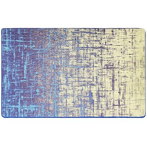 YUNVWUGUA 0,8 * 1,3 mt Retro Slip Modernen Komfort Einfache Wohnzimmer Schlafzimmer Sommer Schwarz Einfache Kreative Abstrakte Farbverlauf Blau Couchtisch Wohnzimmer Teppich Ins Nordic Schlafzimmer Zi -