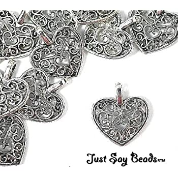 *HUGE SALE & FREE CHARMS PROMOTIONS! 8 x Antique Silver Plated Filigree 'HEART' Charms. Jump rings included for Attachments. *High Quality Charms for Jewellery Making & Card Embellishments* (Ref:10B46)