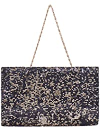 Studio Mom Black & Gold Sequins On Georgette Classic Clutch For Women & Girls