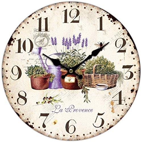 Orologio Vintage da parete in Legno, movimento silenzioso, diametro 34cm