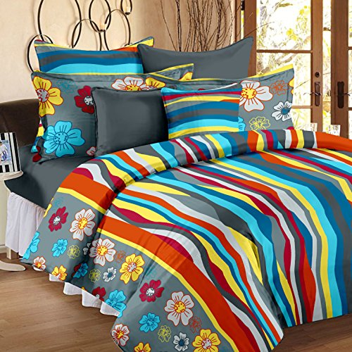 Story @ Home 240 TC 100% Cotton Blue 1 Double Bedsheet With 2 Pillow Cover Purple