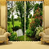 #10: B7 Creations 2-Pieces Polyester Knitted 3D Digital Printed Curtain for Door – 7 Feet, 2 Curtains