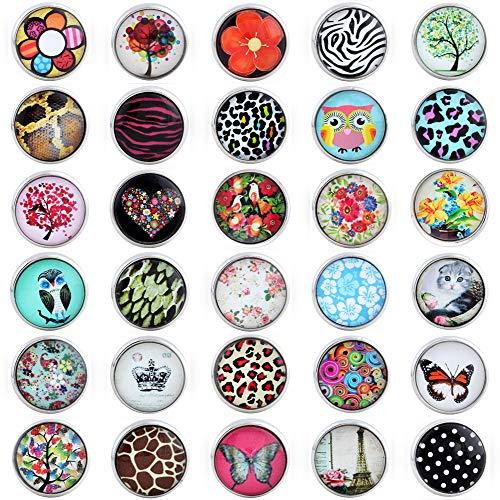 - Button (Morella 30 Click-Button Set Knöpfe 20 mm für Halskette Armband und Ring bunter Farbenmix-5)
