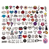 RUBYCA Wholesale 200pcs Floating Charms Lot for DIY Glass Living Memory Locket Silver Gold Color Mix