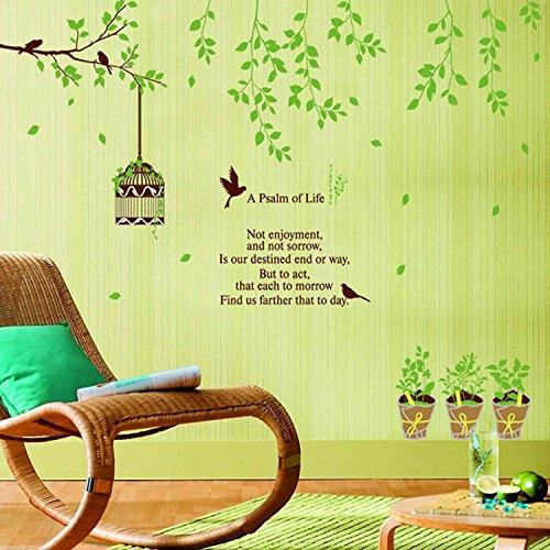 KGKBH Pegatina de Pared Nuevo 105 * 150 cm árbol genealógico Verde Jaula cálida Sala de Estar Dormitorio decoración Pegatinas de Pared pájaro Vida poesía Registro de Registro