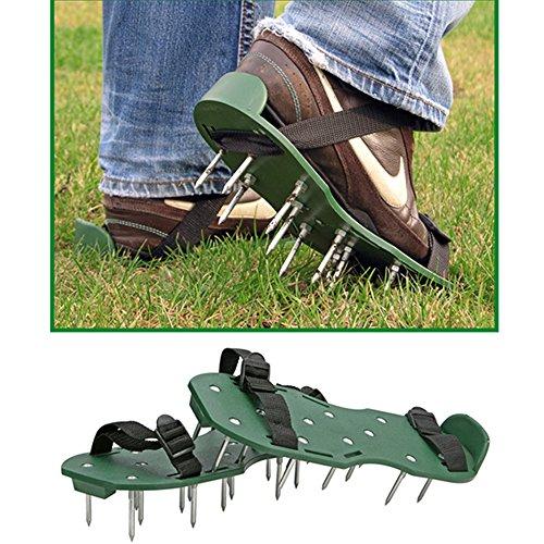 Rasenbelüfter Sandalen mit 26 ca. 5 cm langen Bodennögeln, 13 x 30cm: Vertikutierer Rasen Nagelschuhe Rasenlüfter Stachelschuhe