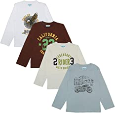 sharktribe Boy's Cotton Full Sleeves T-Shirts Multicolour (Pack of 4)