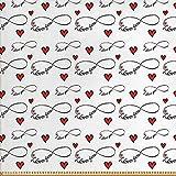 ABAKUHAUS Te Amo Tela por Metro, Símbolos Del ?nfinito, Decorativa para Tapicería y Textiles del Hogar, 5M (148x500cm), Rojo Negro Blanco