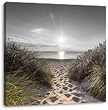 der Weg ins Meer B&W Detail, Format: 70x70 auf Leinwand, XXL riesige Bilder fertig gerahmt mit Keilrahmen, Kunstdruck auf Wandbild mit Rahmen, günstiger als Gemälde oder Ölbild, kein Poster oder Plakat