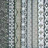 Textiles français Stoffpaket (Kollektion Moderne Stammesmuster - Naturfarben) | 8 Stoffe | 100% Baumwolle | 46 cm x 56 cm