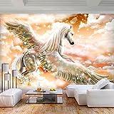 decomonkey | Fototapete Pferde 350x256 cm XL | Tapete | Wandbild | Wandbild | Bild | Fototapeten | Tapeten | Wandtapete | Wanddeko | Wandtapete | Abstrakt orange Tiere | FOC0025b73XL