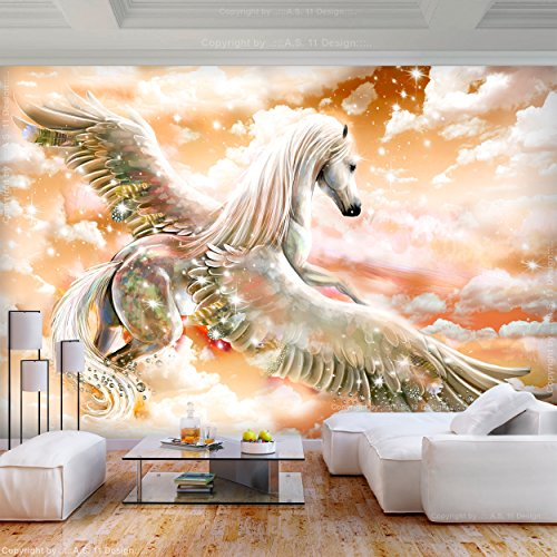 decomonkey   Fototapete Pferde 350x256 cm XL   Tapete   Wandbild   Wandbild   Bild   Fototapeten   Tapeten   Wandtapete   Wanddeko   Wandtapete   Abstrakt orange Tiere   FOC0025b73XL