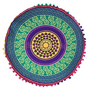 Generic 17'' Floor Pillow Case Mandala Round Cushion Cover Pouf Ottoman Tapestry-GRN