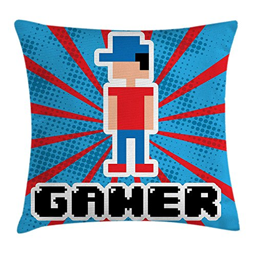 ZHIZIQIU Video Games Throw Pillow Cushion Cover, Blue and Red Striped Boom Beams Retro 90's Toys Boy with Cap, Decorative Square Accent Pillow Case, 18 X 18 Inches, Vermilion Blue White Black Oversized Wool Cap