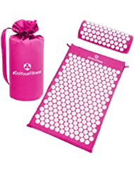 #DoYourFitness Acupressure Mat & Head Cushion Set »Jimuta« / Mat + Carry Bag + Pillow / 100% Cotton, meditation massage yoga mat & cushion set / pink