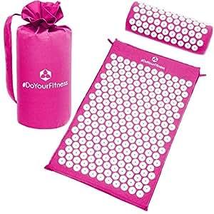 Kit d'acupression »Jimuta« / sac + matelas + coussins/ matelas d'acupression et de massage pour détendre et supprimer les tensions / rose fuchsia