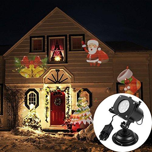 ARINO Projektionslampe Effektlicht LED Projektor Lampe Wasserdichte Weihnachtsbeleuchtung Landscape Projektor mit 12 Austauschbare Muster Lickteffekt für Weuhnachten Halloween Gurburtstag Feiertage Indoor Outdoor Verwendbar 4W (Update Version)
