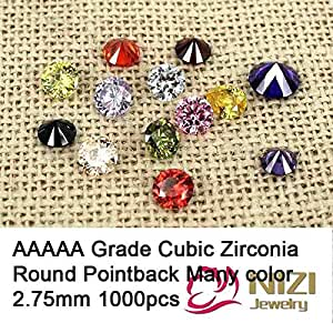 Generic light purple : AAAAA Grade Brilliant Cuts Cubic Zirconia Beads Supplies For Jewelry 2.75mm 1000pcs Round Pointback Stones Nail Art Decorations